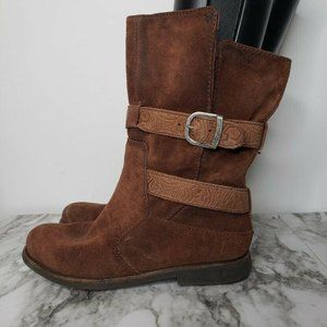 Emu Ainslie Mid Calf Boots Woodblock Leather Brown